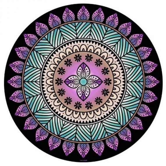 Manta Mandala Aveludada Tribal Turquesa e Lilás