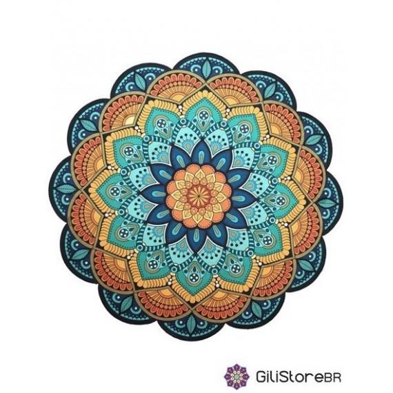Tapete Mandala Floral Azul, Amarelo e Laranja