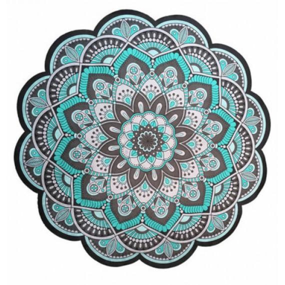 Tapete Mandala Floral Cinza e Verde