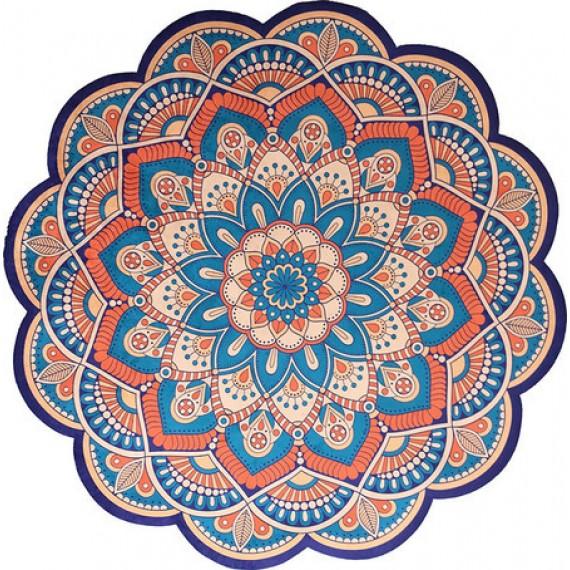 Tapete Mandala Floral Laranja e Azul