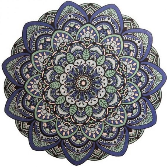 Tapete Mandala Lótus Azul e Verde